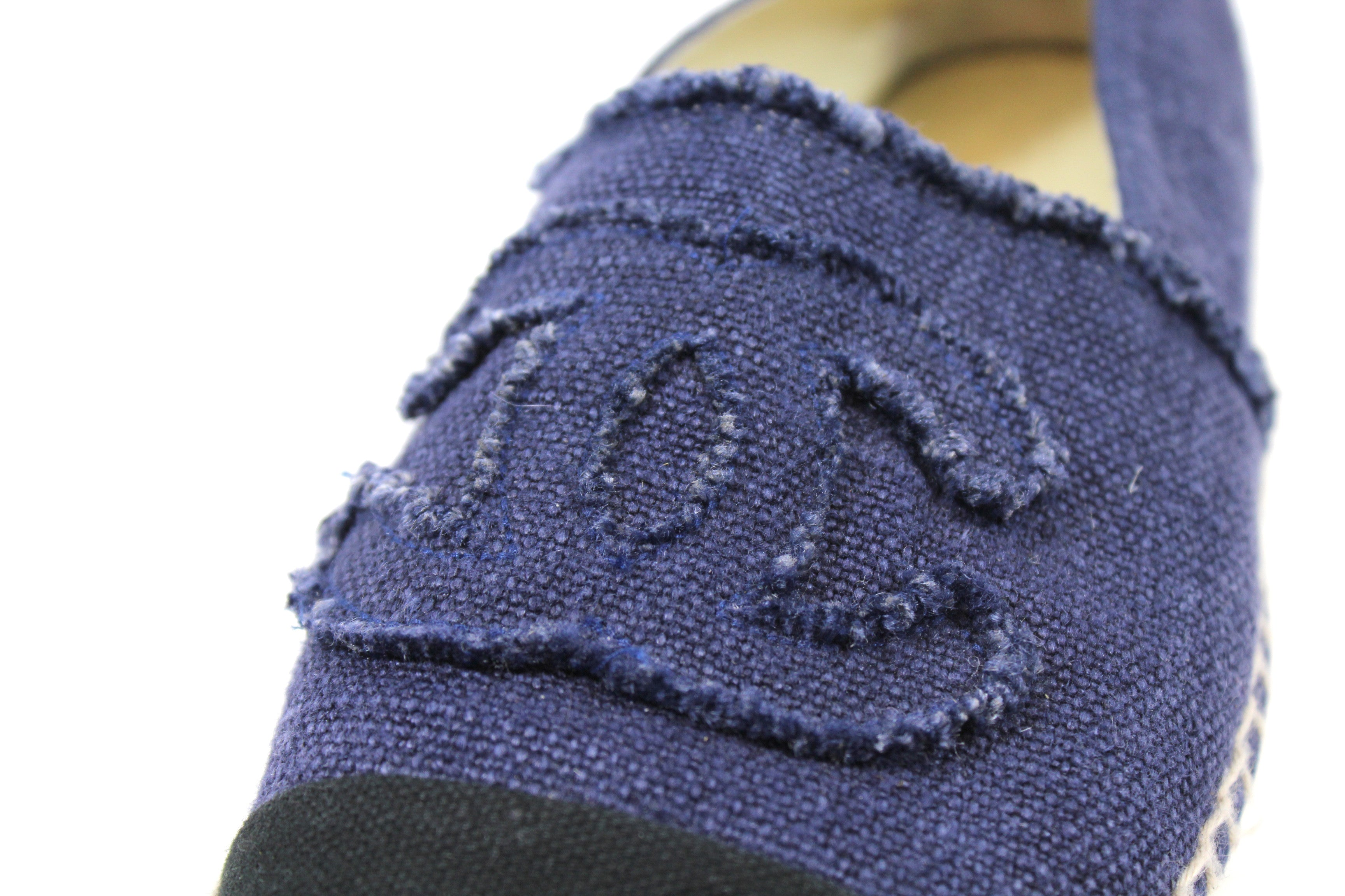 Chanel Navy and Black Linen Espadrilles (Size 41)