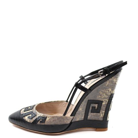 Miu Miu Lizard and Black Leather Pointed Toe Wedges (Size 38)