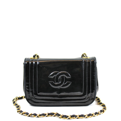 Chanel Black Patent Leather Flap Bag