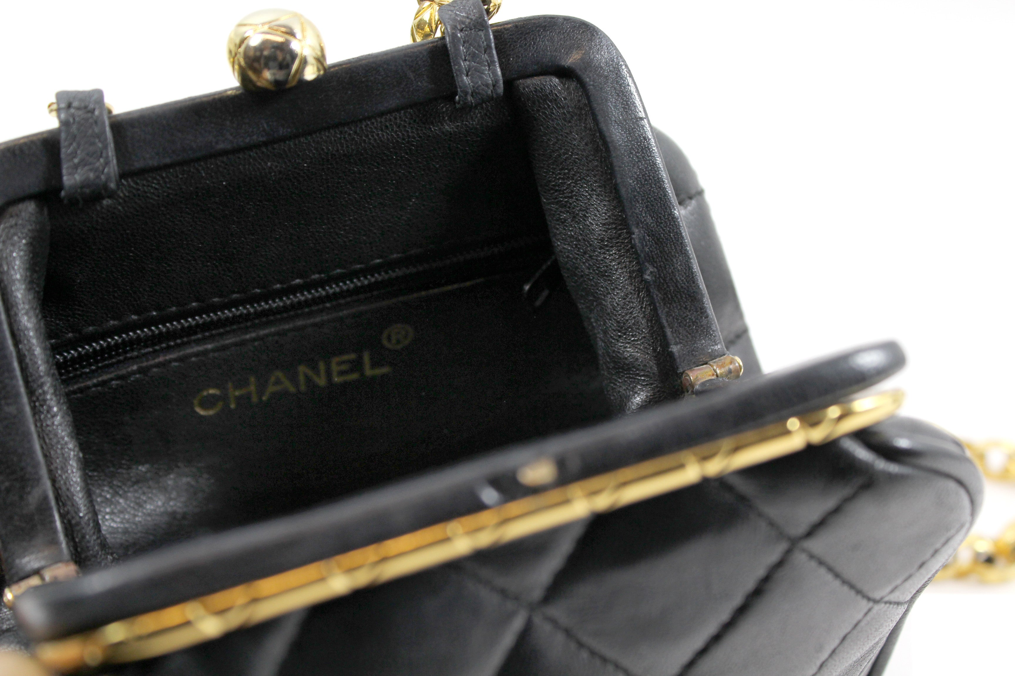 Chanel Small Black Quilted Leather Bag