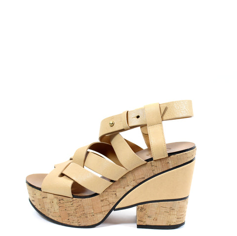 Chloé Natural Leather Braided Strap Platform Sandals (Size 36)