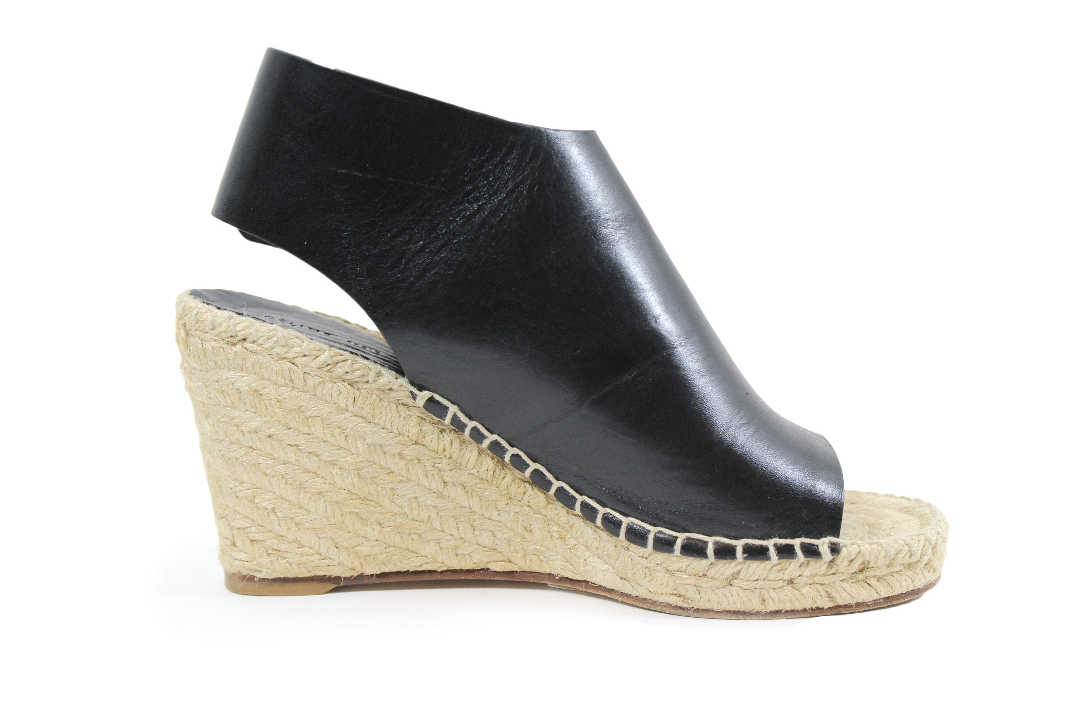 Celine Black Leather Espadrille Wedges (Size 35)
