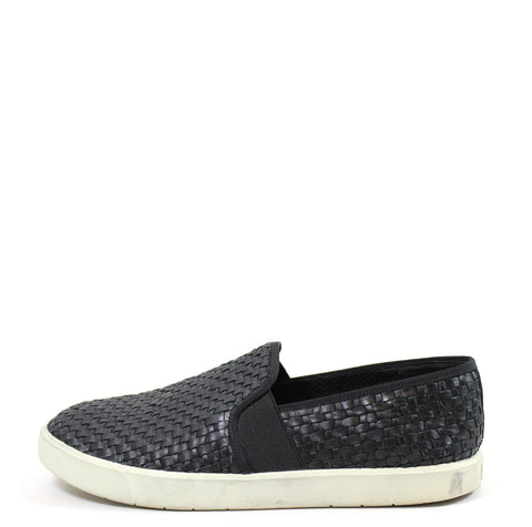 Vince 'Preston' Black Woven Leather Slip-on Sneakers (Size 9.5)