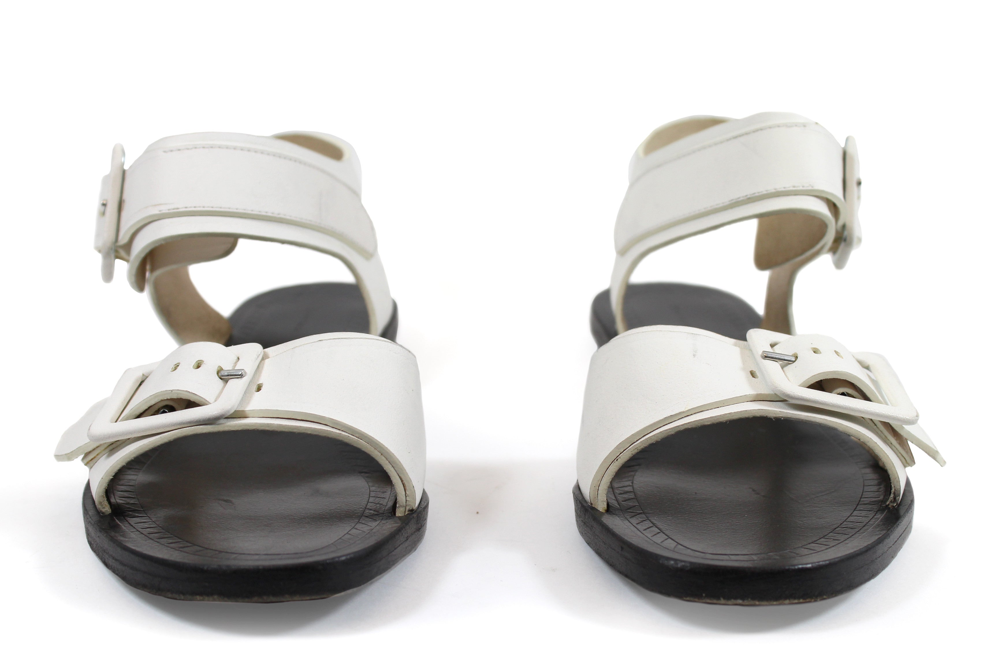 Proenza Schouler White Leather Buckle Flat Sandals (Size 36)