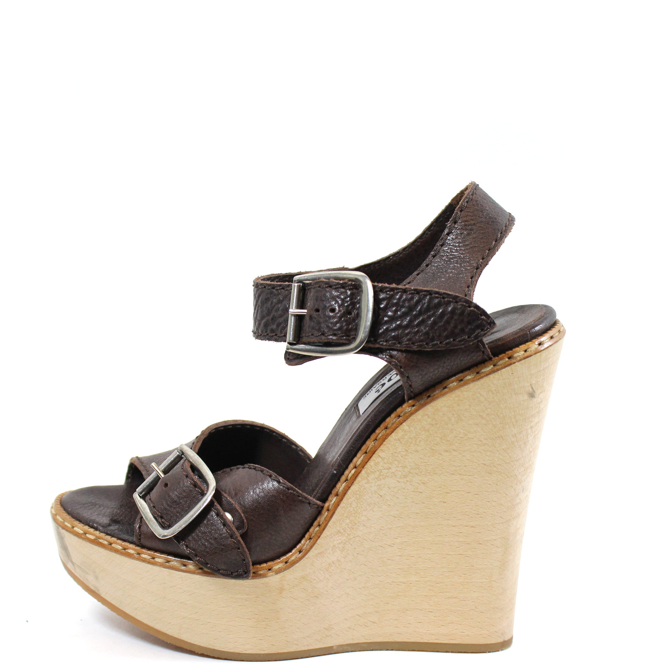 eaedb383cd1a7 Chloé Brown Leather and Wood Wedge Sandals (Size 36) – Encore Resale.com