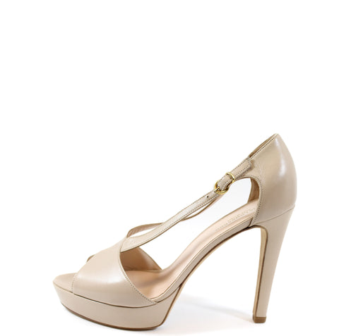 Katia Lombrado Beige Leather Open Toe Pumps (Size 38)