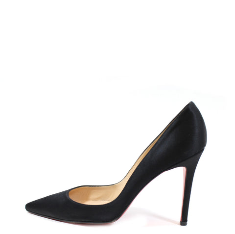 Christian Louboutin Black Satin Pointed Toe Pumps (Size 38.5)