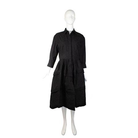 'Sold' ALAÏA Black Floral Embroidered Cotton Tiered Skirt Fit Flare Midi Shirt Dress 42