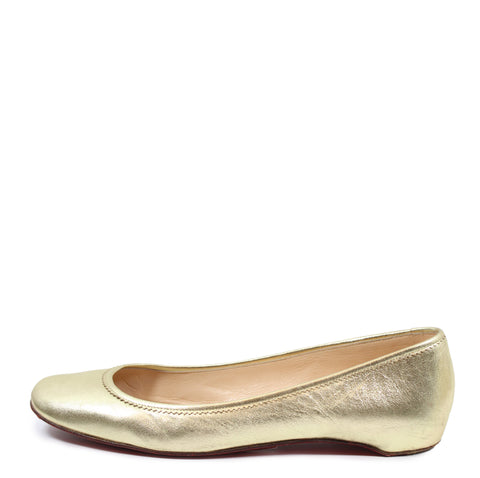 Christian Louboutin Metallic Leather Flats (Size 41)