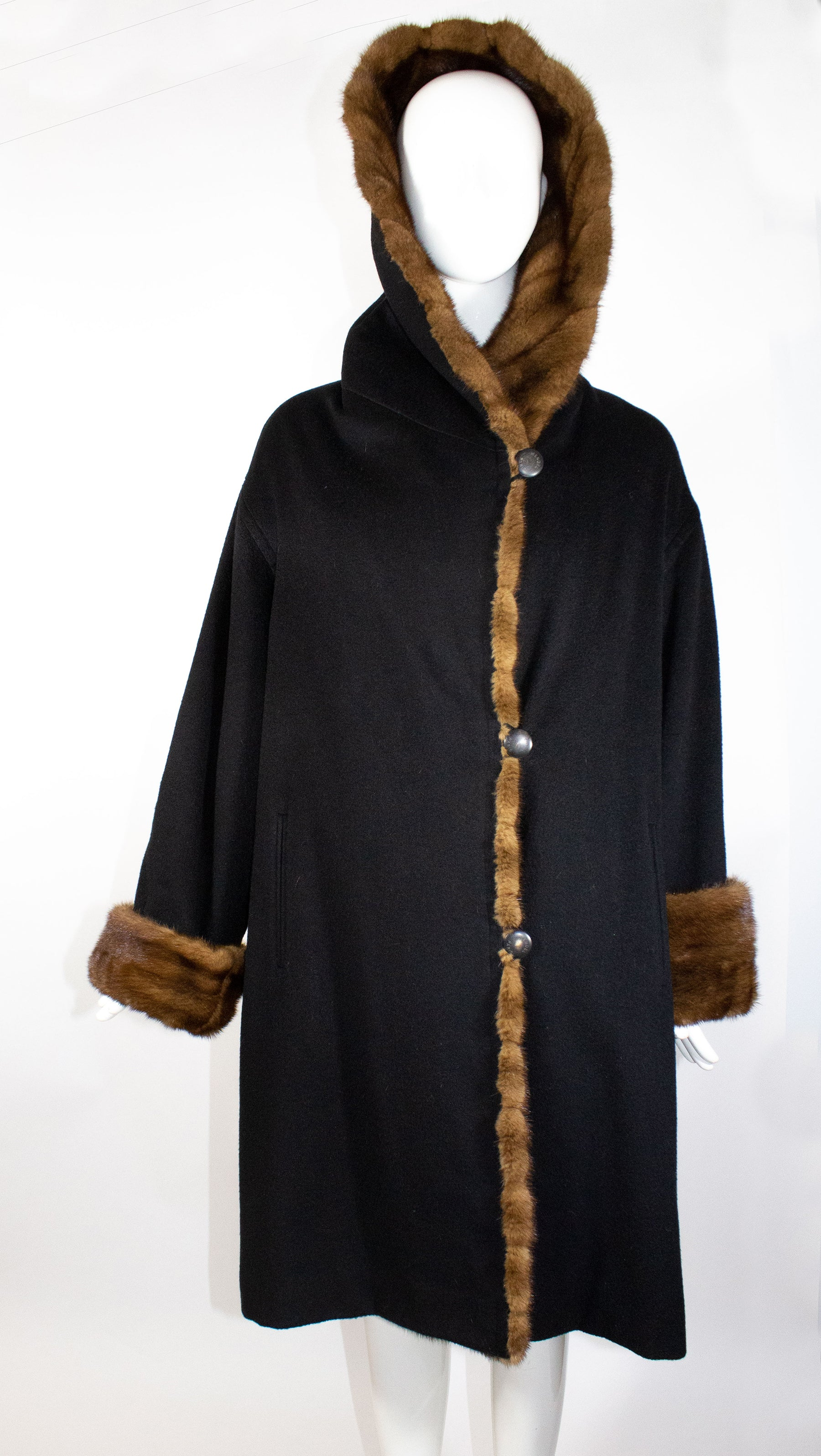 J.MENDEL Black Cashmere Natural Brown Mink Fur Trim Shawl Collar Hooded Coat M L