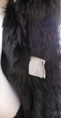'Sold' CHANEL 07A Black Lambskin Suede Shearling Fur Leather Zip Snap CC Coat Jacket 44