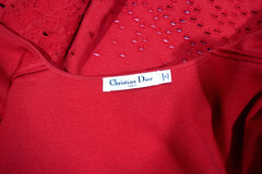 CHRISTIAN DIOR Red Floral Brocade Cut Out Wool Knit Cardigan Sweater Coat 44 8