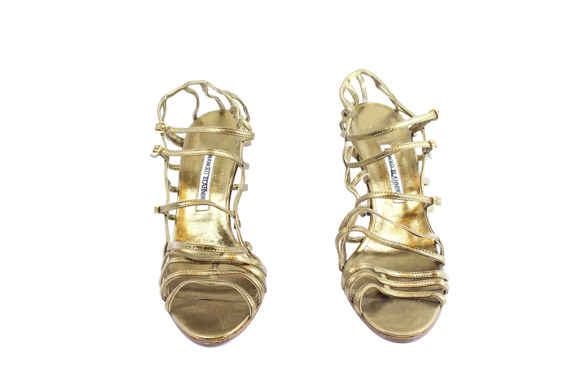 Manolo Blahnik Gold Strappy Heels (Size 42) - Encore Consignment - 4