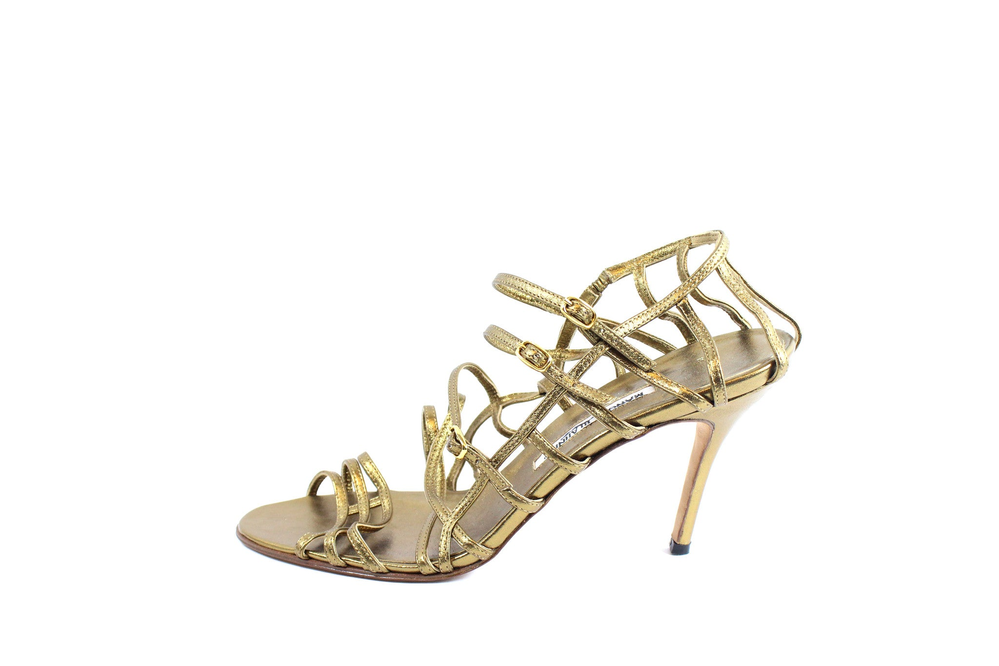 Manolo Blahnik Gold Strappy Heels (Size 42) - Encore Consignment - 2