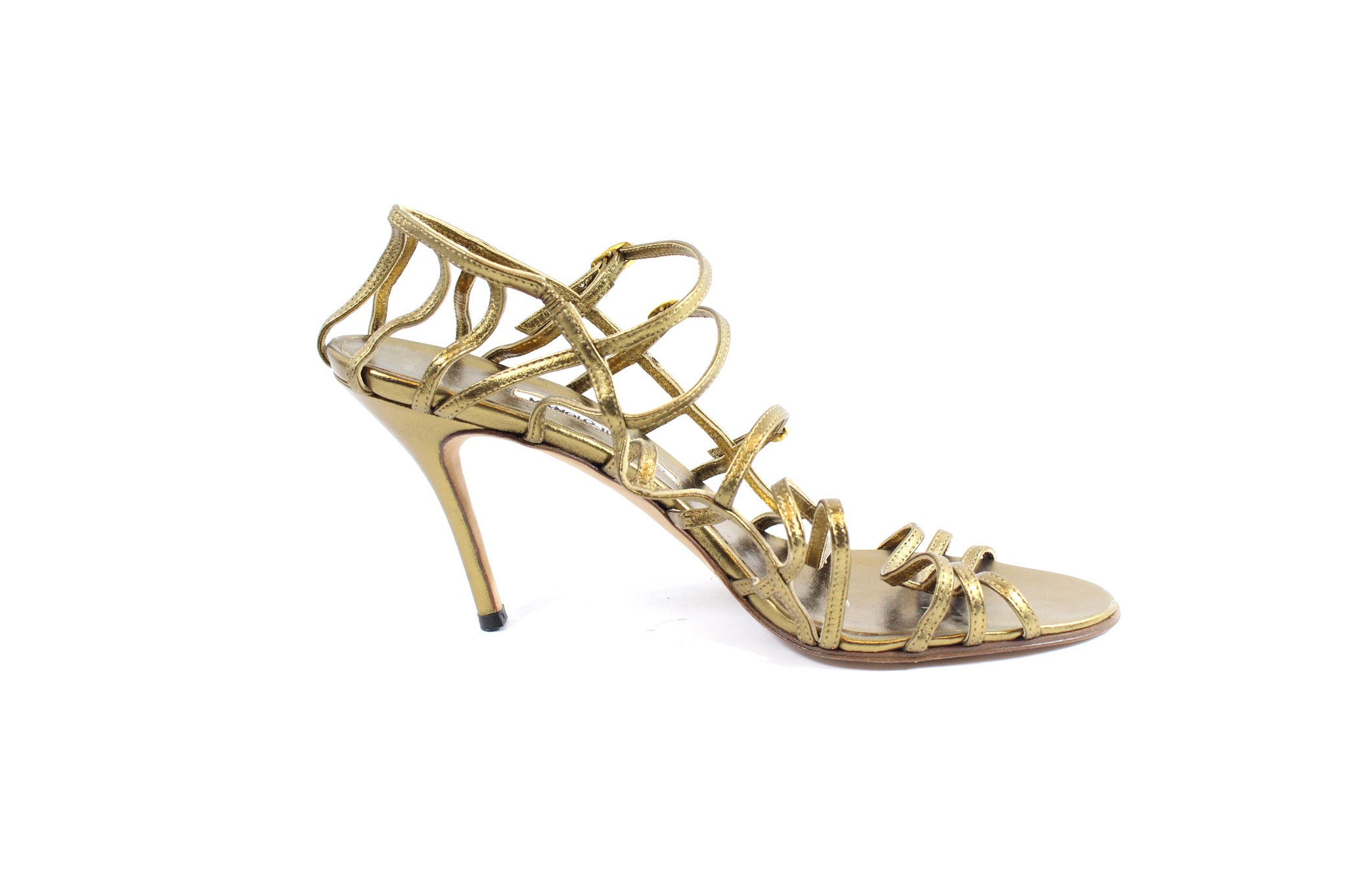 Manolo Blahnik Gold Strappy Heels (Size 42) - Encore Consignment - 6