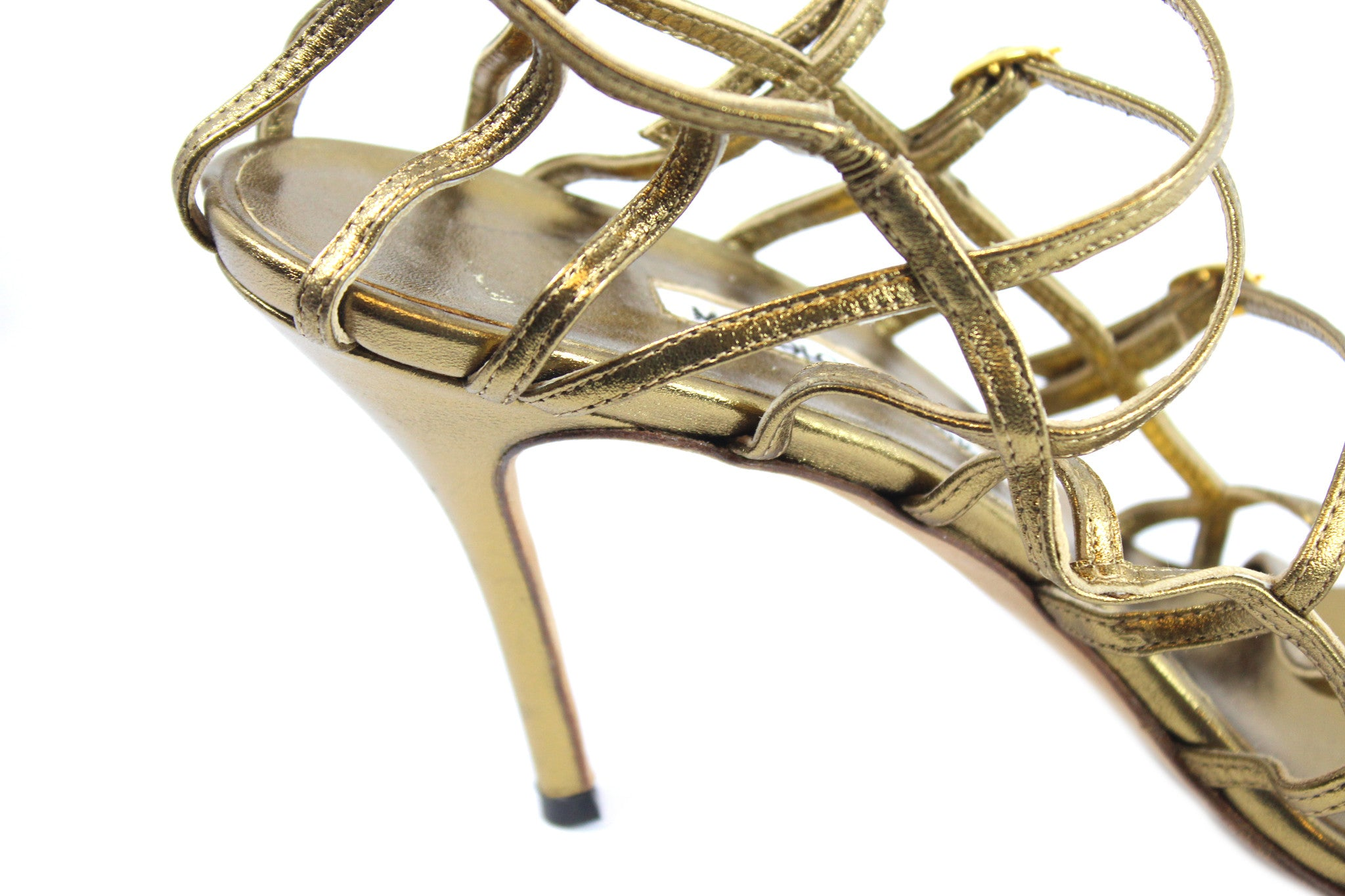 Manolo Blahnik Gold Strappy Heels (Size 42) - Encore Consignment - 7