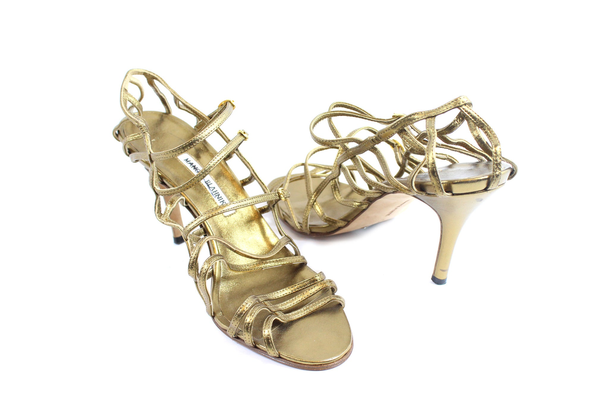 Manolo Blahnik Gold Strappy Heels (Size 42) - Encore Consignment - 3