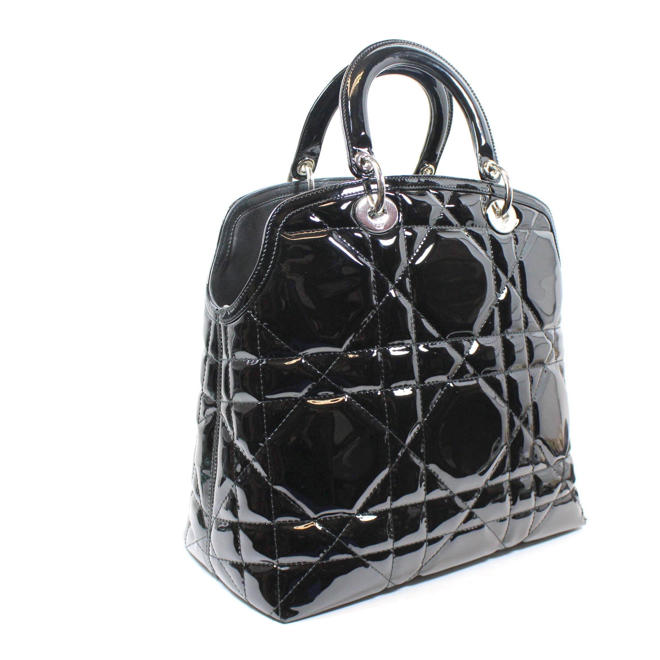Christian Dior Cannage Quilted Patent Leather 'Granville' Tote