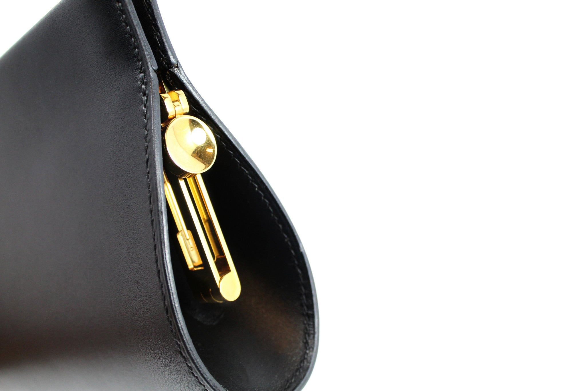 Hermes Black Leather Clutch - Encore Consignment - 3