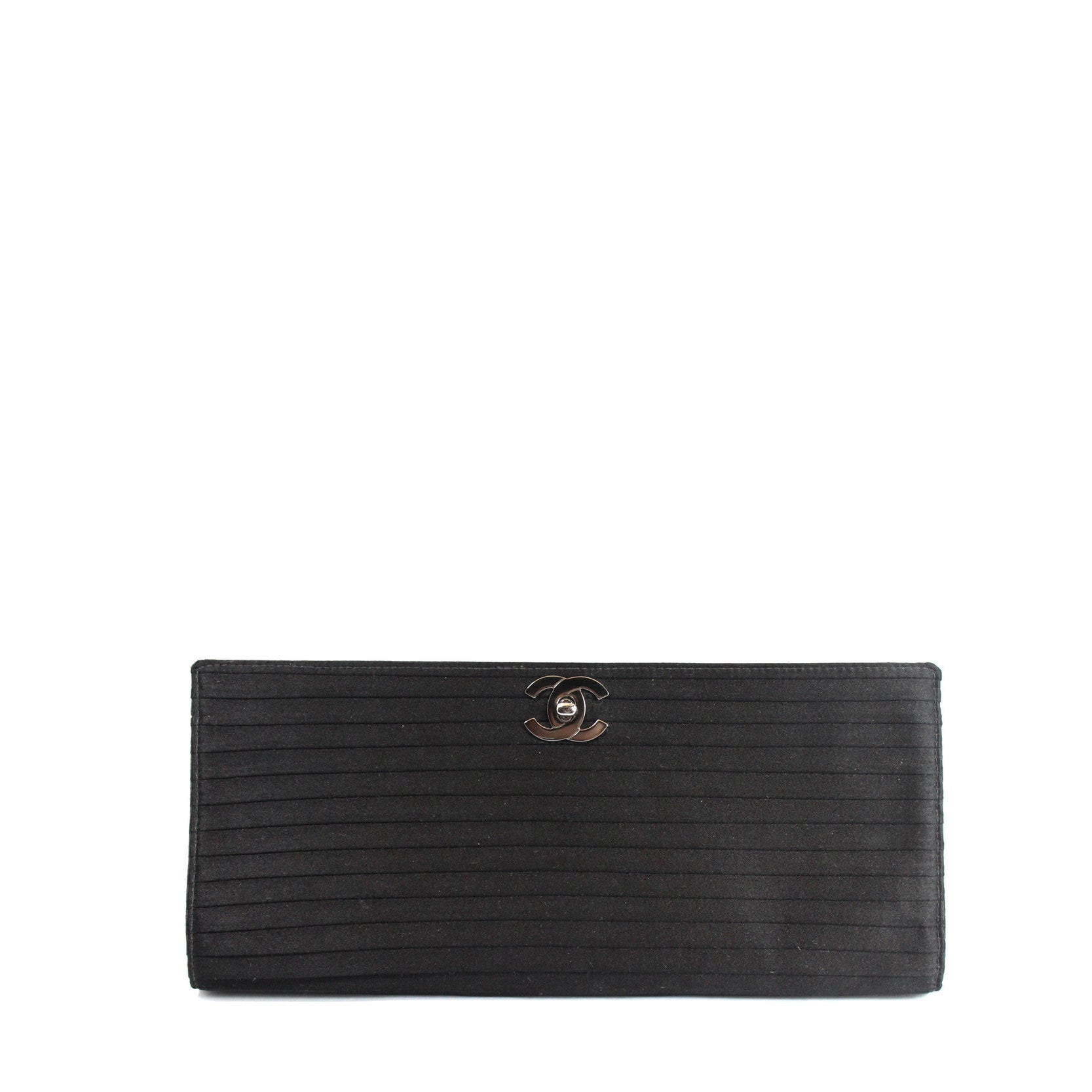 Chanel Black Satin Pleated Clutch - Encore Consignment - 11