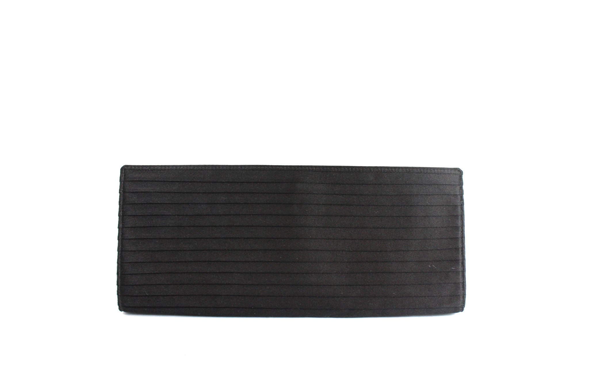 Chanel Black Satin Pleated Clutch - Encore Consignment - 3