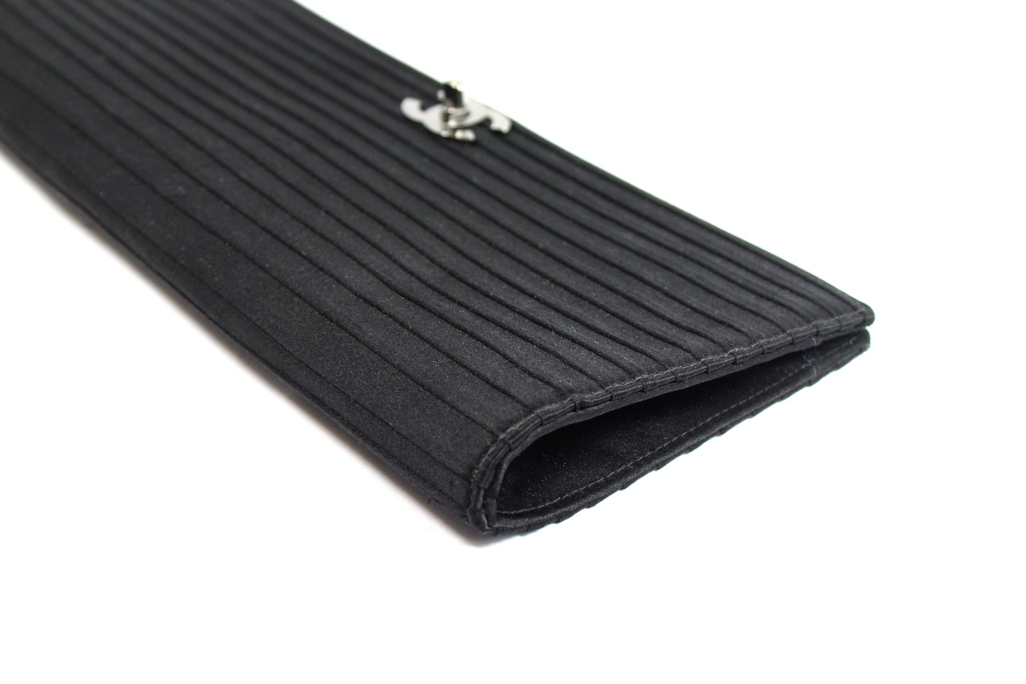 Chanel Black Satin Pleated Clutch - Encore Consignment - 4