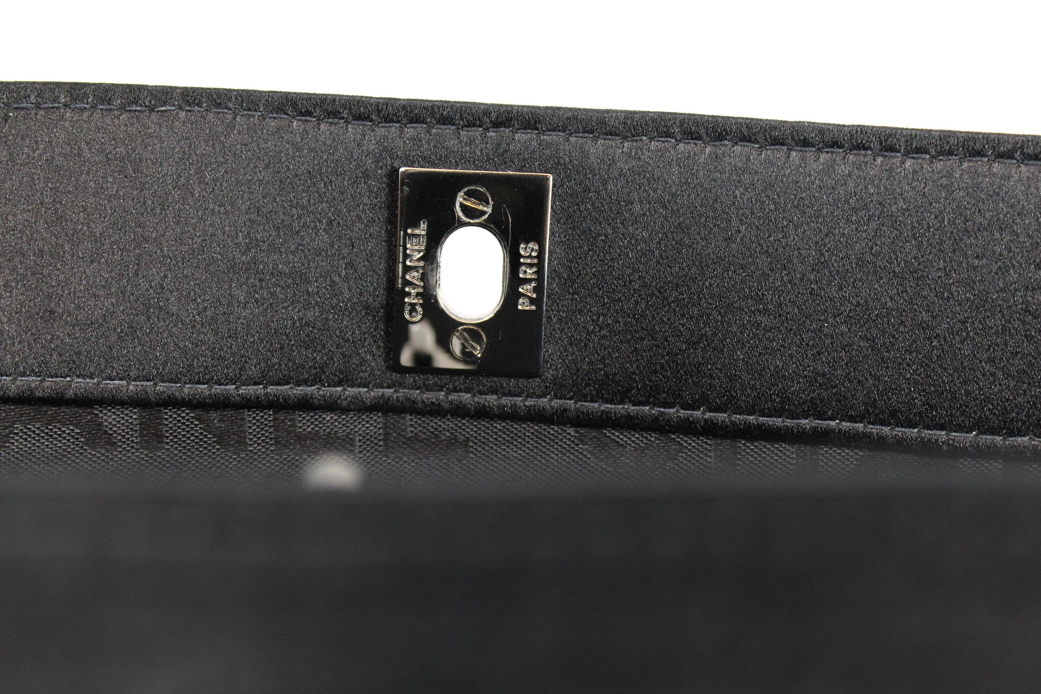 Chanel Black Satin Pleated Clutch - Encore Consignment - 5