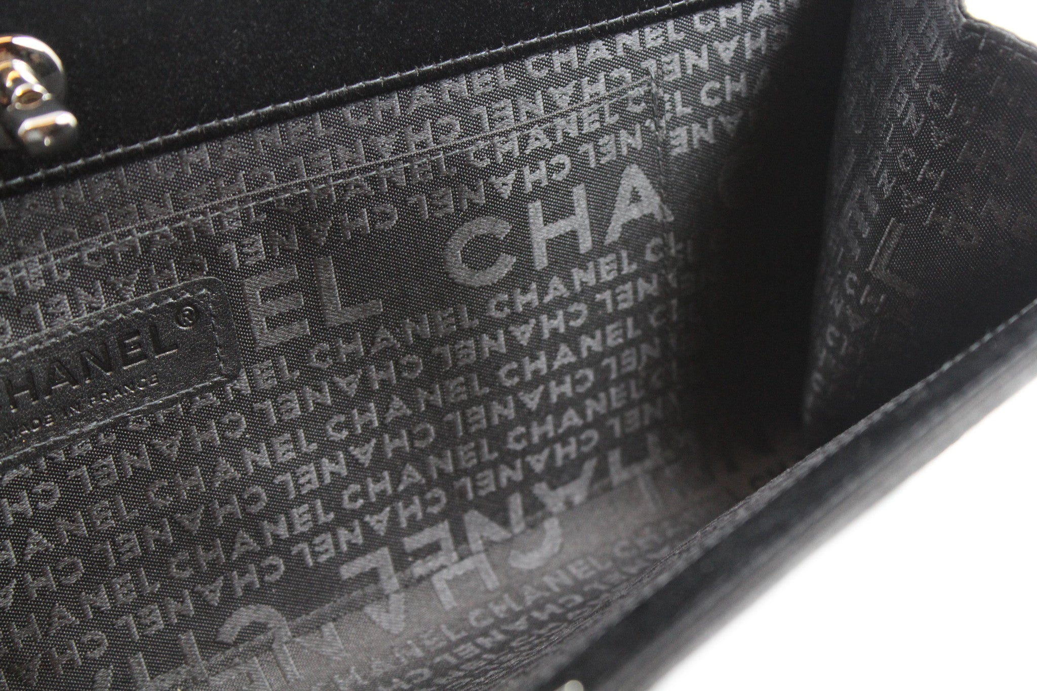 Chanel Black Satin Pleated Clutch - Encore Consignment - 7