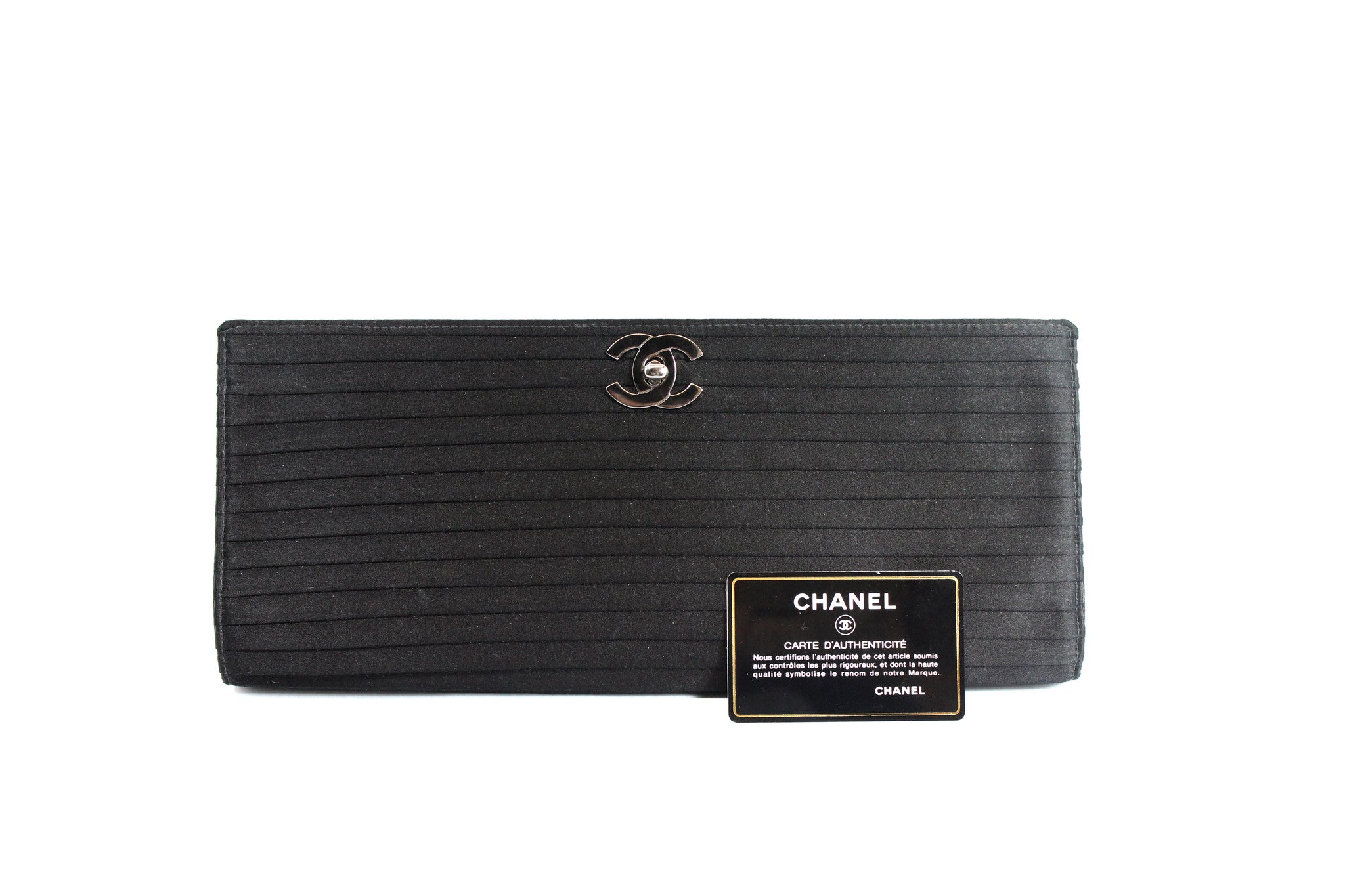 Chanel Black Satin Pleated Clutch - Encore Consignment - 10