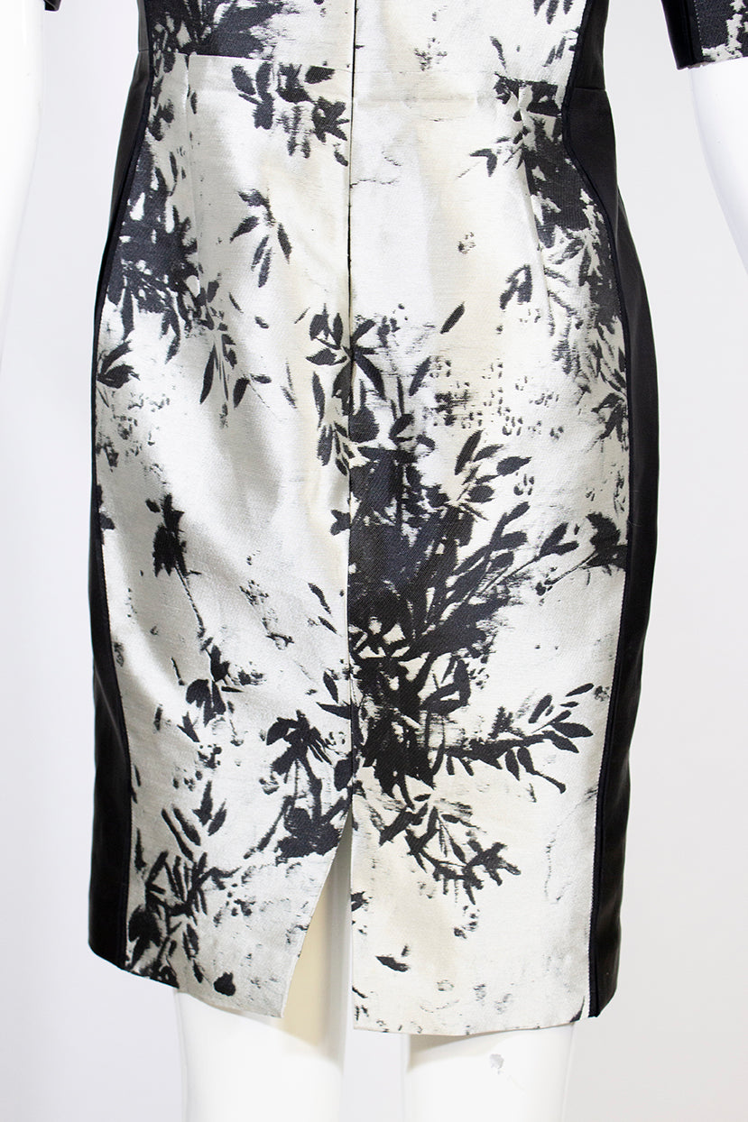 J. MENDEL Silver Gray Leaf Print Jacquard Black Leather Off the Shoulder Dress 8