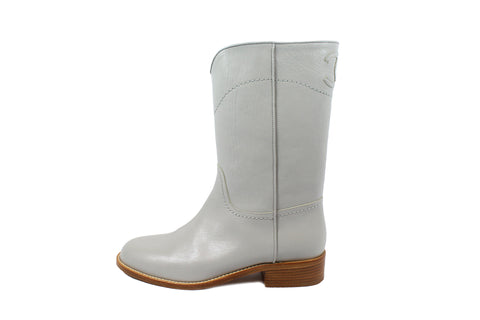 Chanel Pale Grey Leather Cowboy Boots (Size 37.5) - Encore Consignment - 1
