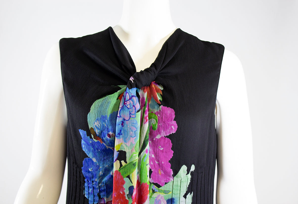 'Sold' GIORGIO ARMANI Black Multi Color Floral Print Silk Scarf Neck Flared Dress M 42