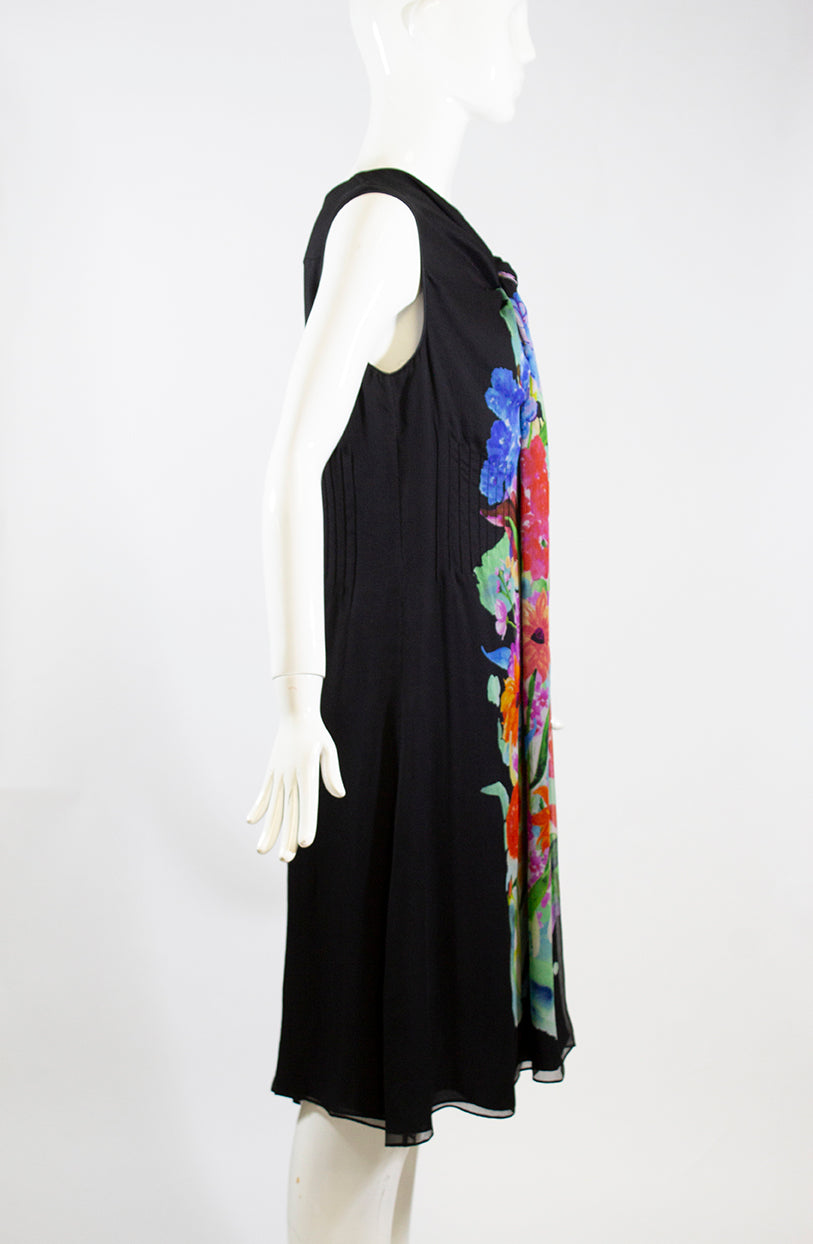 GIORGIO ARMANI Black Multi Color Floral Print Silk Scarf Neck Flared Dress M 42