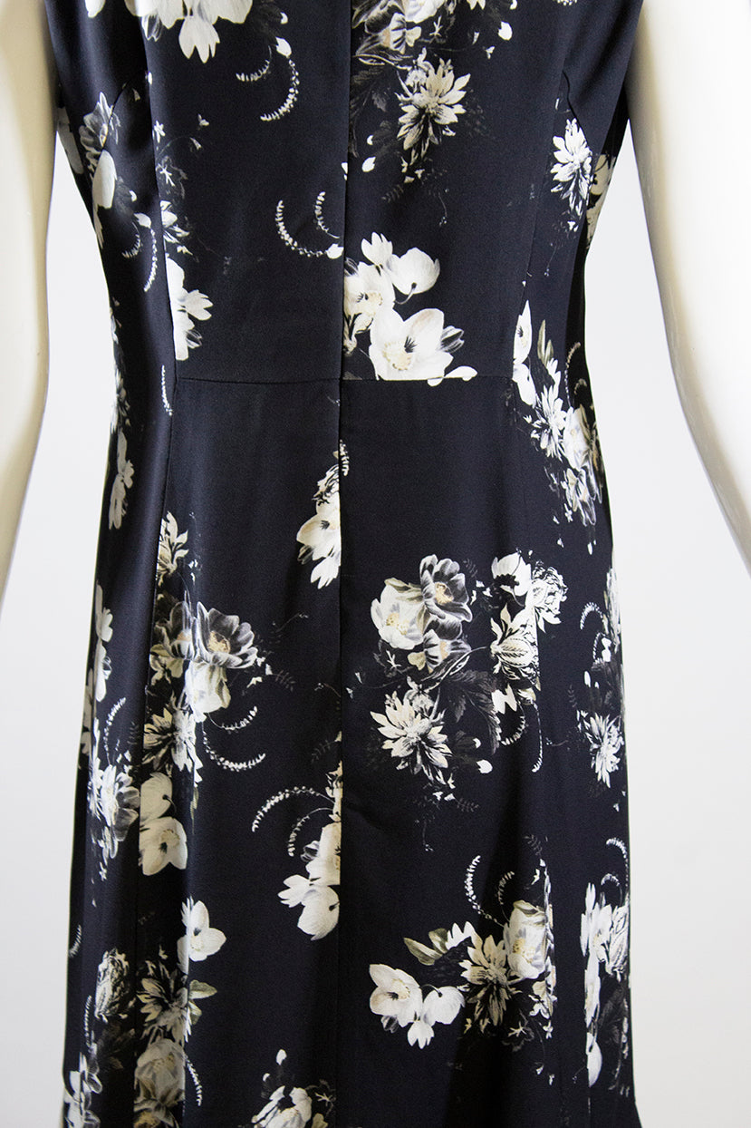 ERDEM PF17 Black Ecru Midnight Rose Bouquet Floral Print Jana Dress IT46 US 10