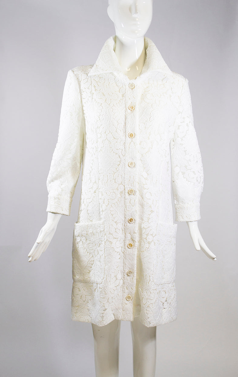 'Sold' CHLOE 15E White Ivory Floral Guipure Lace Long Sleeve Shirt Dress Coat FR 44 EUC
