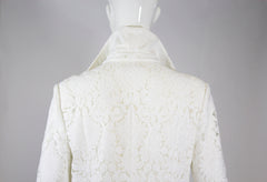 CHLOE 15E White Ivory Floral Guipure Lace Long Sleeve Shirt Dress Coat FR 44 EUC