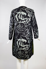 'Sold' ETRO Floral Jacquard Black Woven Trim Lime Green Lined Cotton Blend Coat IT 44