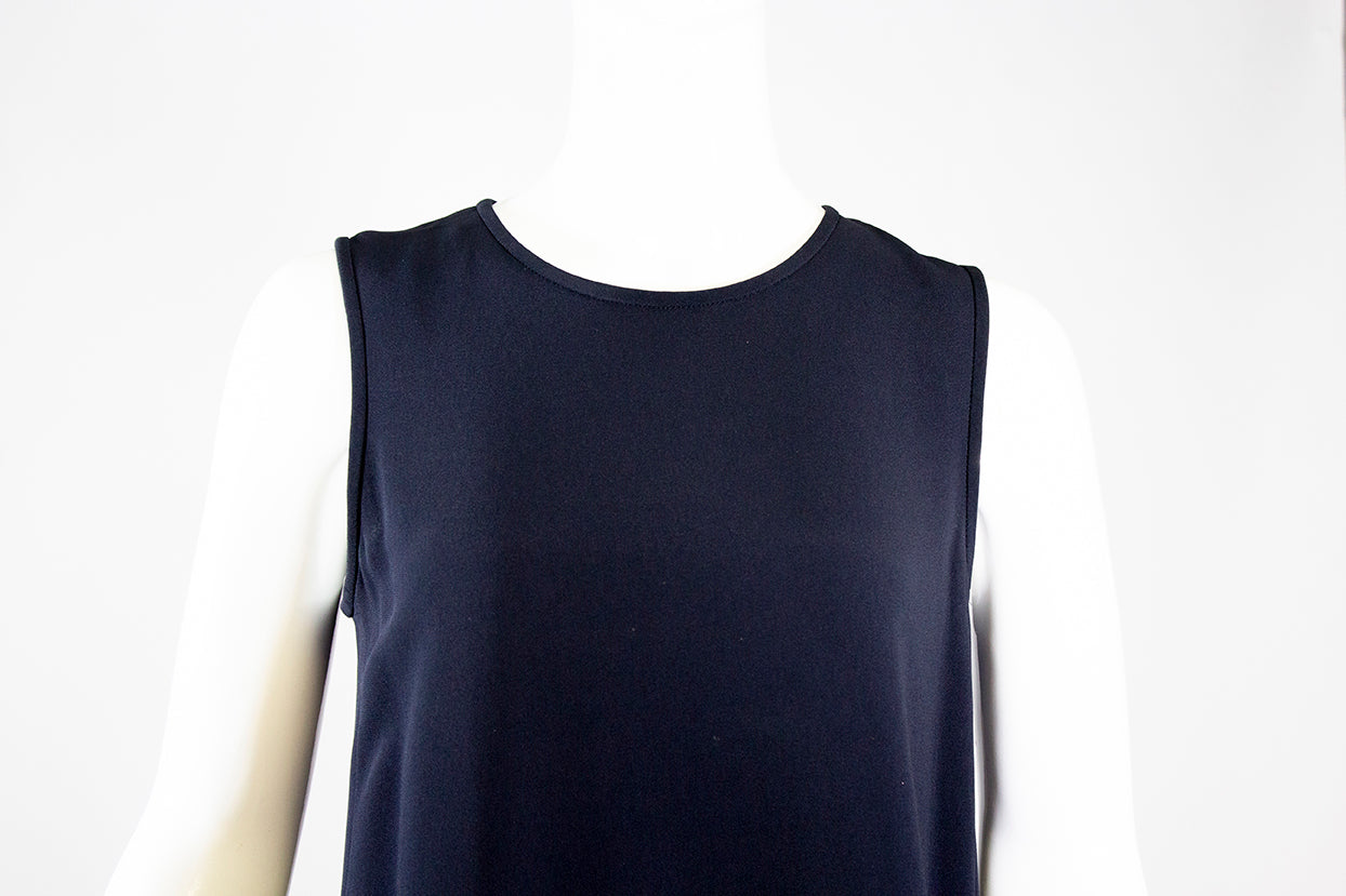 'Sold' 'S MAX MARA Penny Navy Blue Sleeveless Inverted Back Pleat Stretch Crepe Dress M