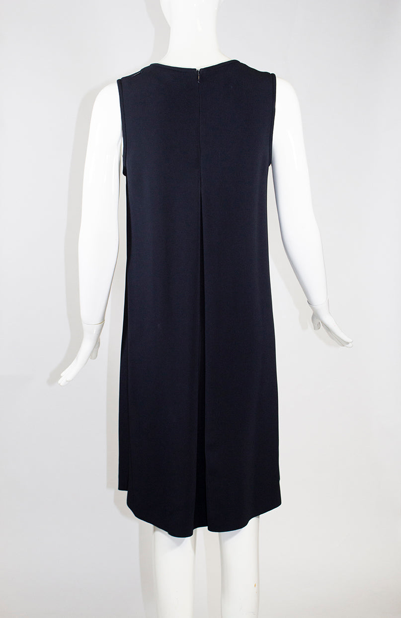 'S MAX MARA Penny Navy Blue Sleeveless Inverted Back Pleat Stretch Crepe Dress M