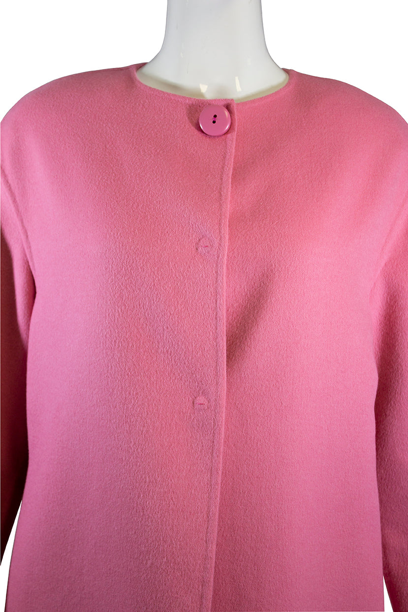 PRADA Rose Pink Collarless Snap Front Plush Wool Angora Cashgora Coat IT 40 GUC