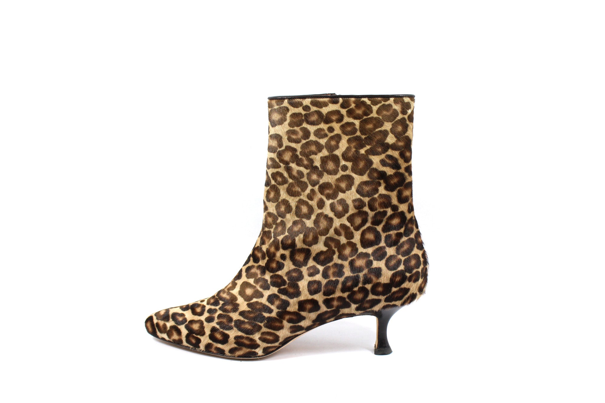 Manolo Blahnik Leopard Calf Hair Ankle Boots (Size 38) - Encore Consignment - 2