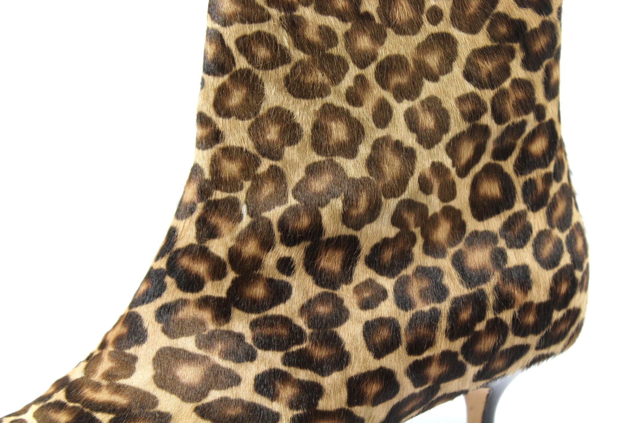 Manolo Blahnik Leopard Calf Hair Ankle Boots (Size 38) - Encore Consignment - 7