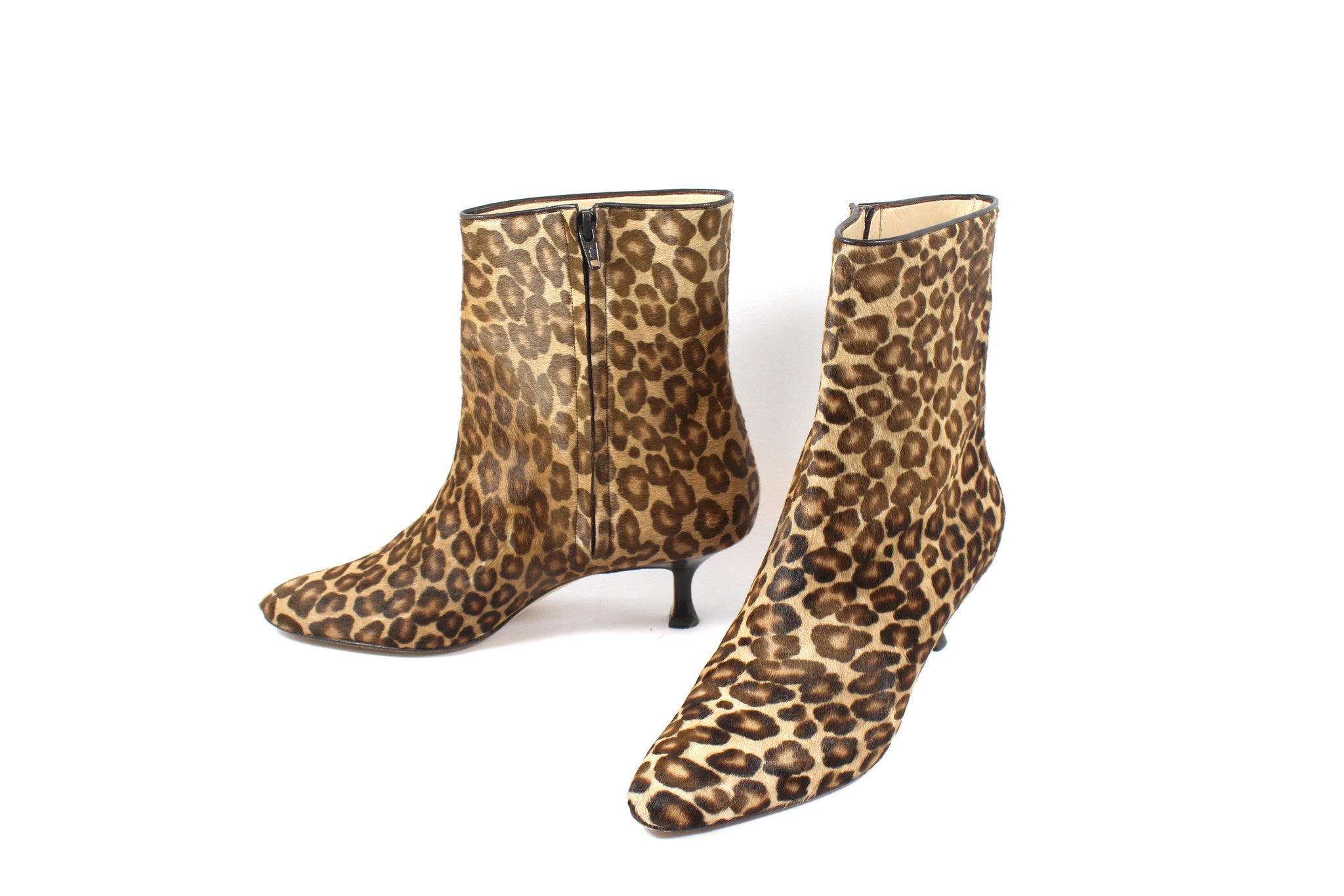Manolo Blahnik Leopard Calf Hair Ankle Boots (Size 38) - Encore Consignment - 3