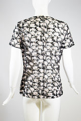 CHRISTIAN DIOR 16A Black Mesh Pink Floral Embroidered Short Sleeve Top IT 46 10