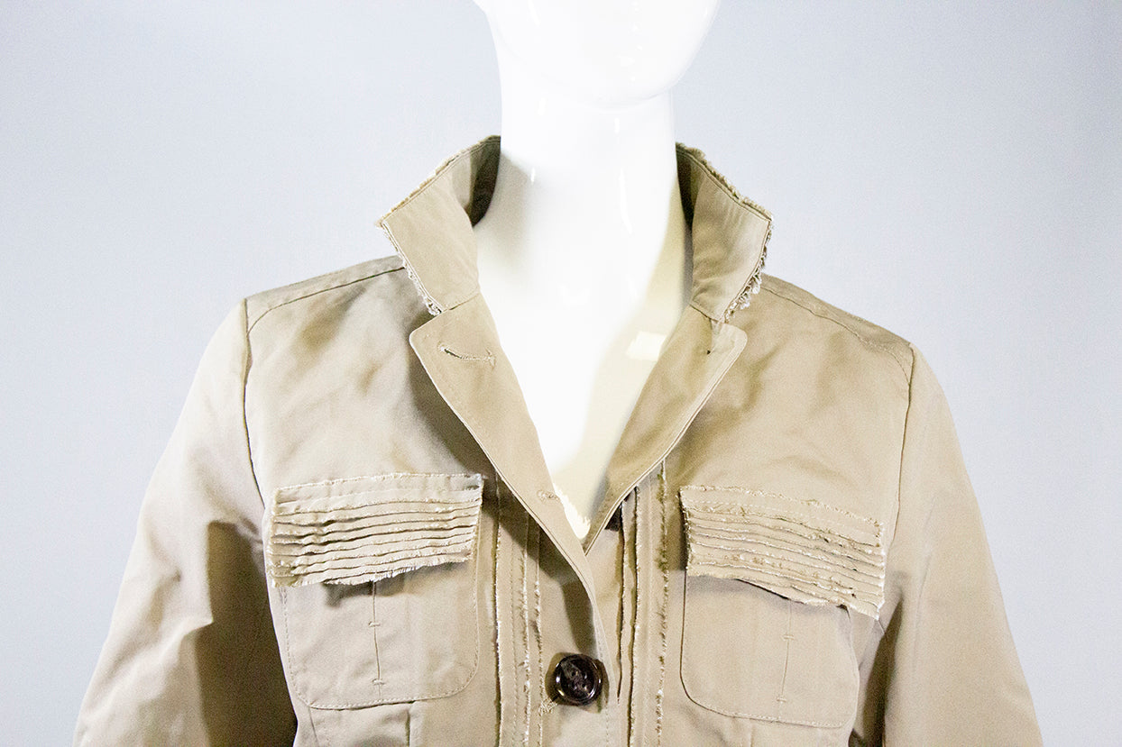 JANE POST S17 Beige Tan Frayed Edge Button Front Twill Safari Jacket Blazer S EC