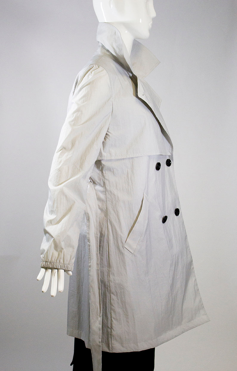 JANE POST S18 Stone Lt Gray Double Breasted Crinkle Nylon Belted Trench Coat S