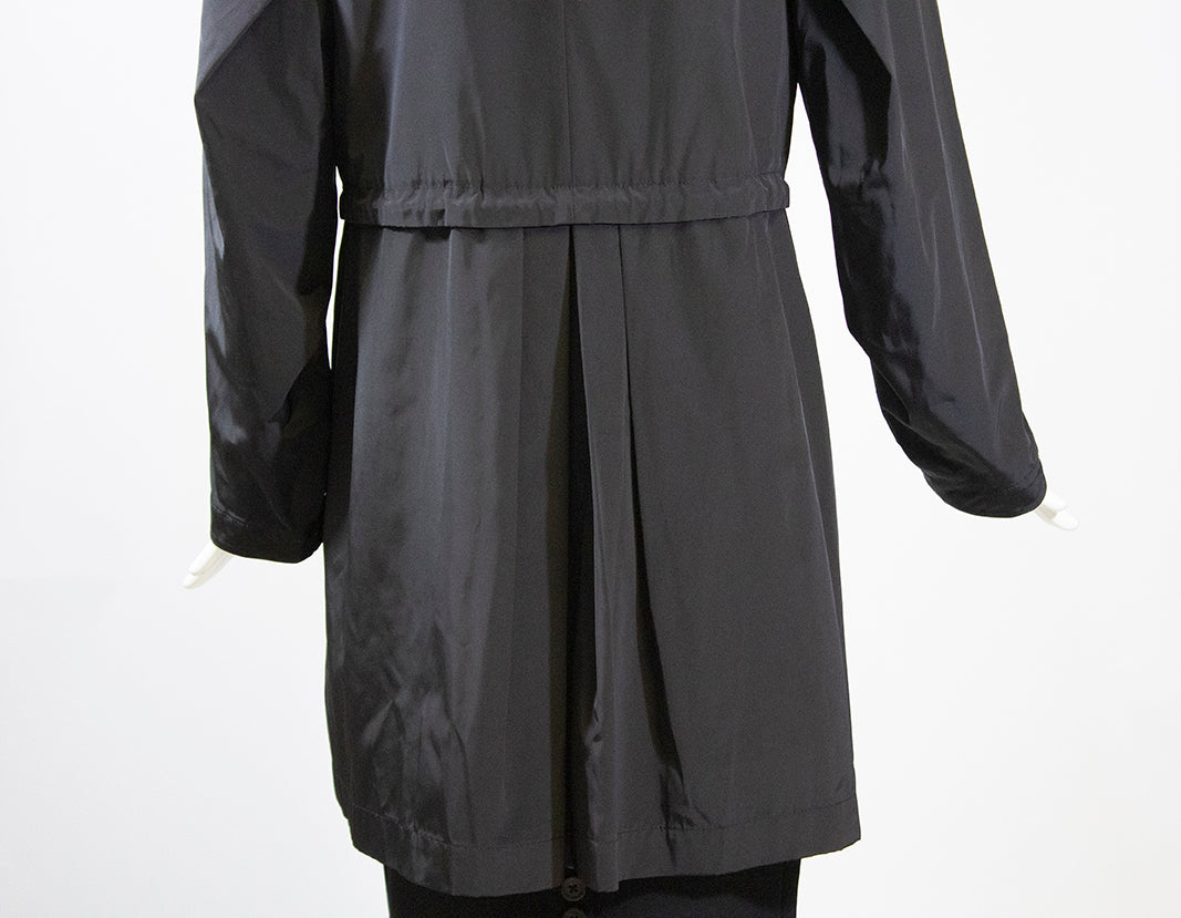 JANE POST Black Gold Zip Front Hooded Techno Parka Cinch Waist Trench Jacket S