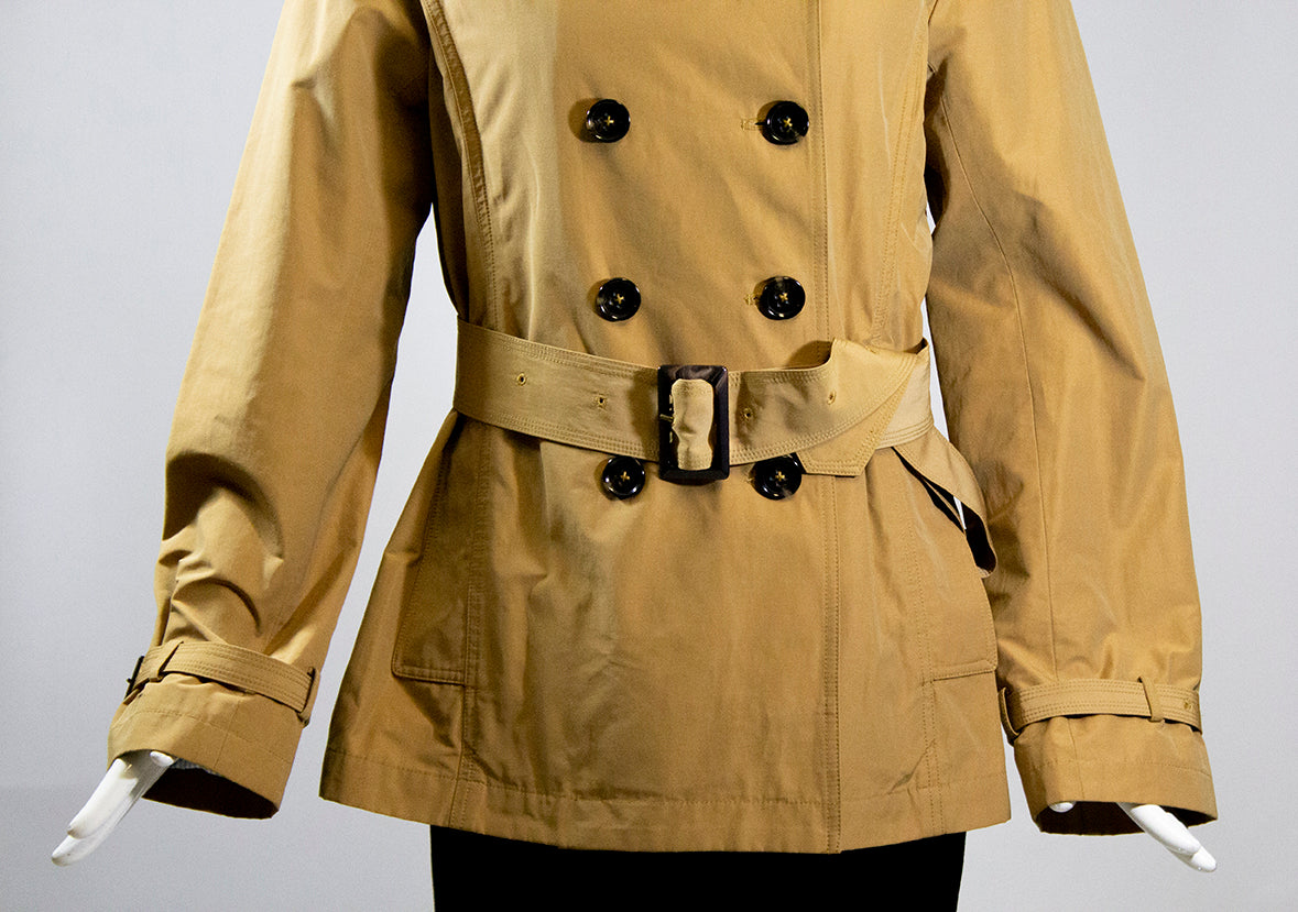 JANE POST Camel Tan Double Breasted Adjustable Belt Lightweight Twill Jacket S