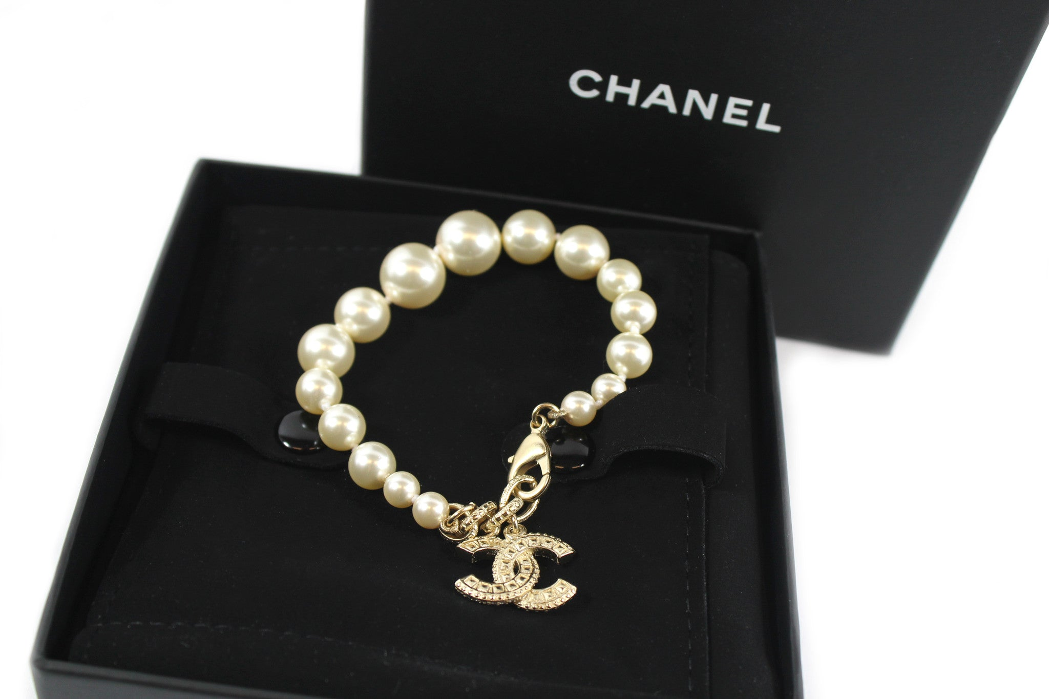 Chanel Pearl and Swarovski Crystals Bracelet - Encore Consignment - 3