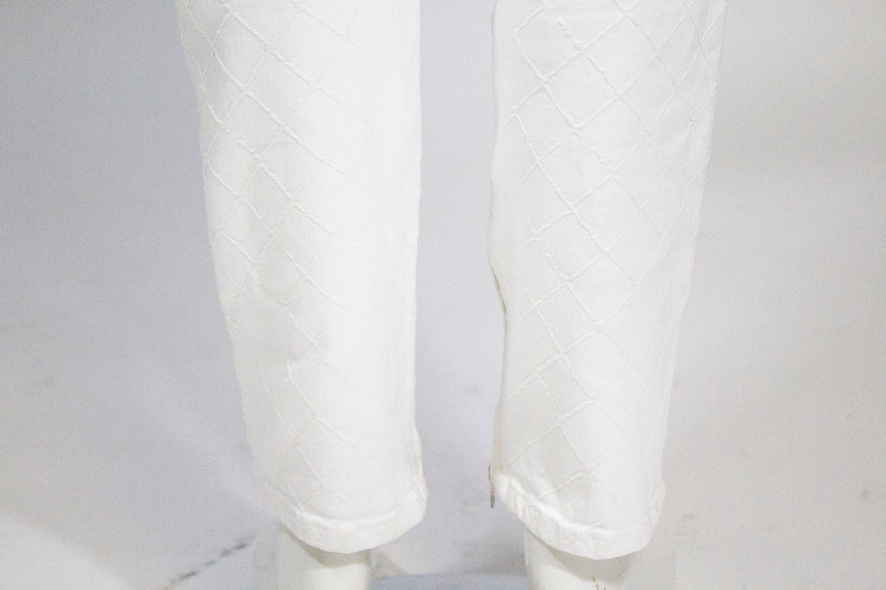 CHANEL 18P White Quilted Denim Mid Rise Jeans Zip Cuff Cotton Stretch Pants 42